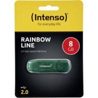 ΣΤΙΚΑΚΙ ΜΝΗΜΗΣ INTENSO 8GB USB 2.0 RAINBOW LINE green