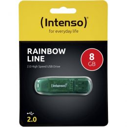 ΣΤΙΚΑΚΙ ΜΝΗΜΗΣ INTENSO 8GB USB 2.0 RAINBOW LINE green