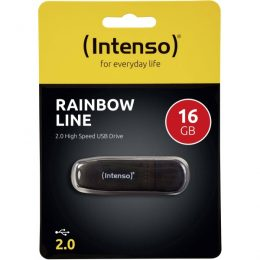 ΣΤΙΚΑΚΙ ΜΝΗΜΗΣ INTENSO 16GB USB 2.0 RAINBOW LINE black