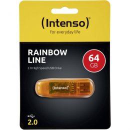 ΣΤΙΚΑΚΙ ΜΝΗΜΗΣ INTENSO 64GB USB 2.0 RAINBOW LINE orange