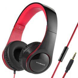 VIVANCO HEADPHONES WITH MIC HANDSFREE black red
